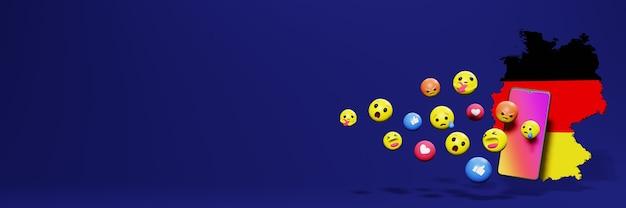 Używaj emoticon w niemczech na potrzeby telewizji społecznościowej i tła strony internetowej, puste miejsce