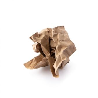 Używane brązowy papier na białym tle