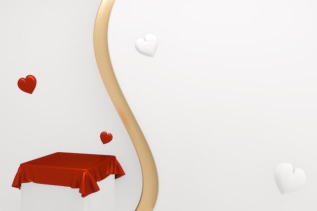 Valentine czerwona scena podium minimalistyczny design. renderowanie 3d