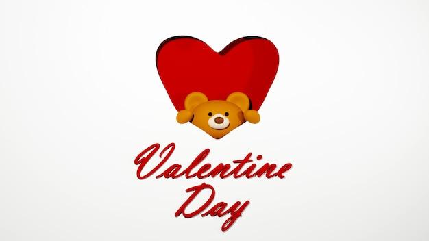 Valentine karty i niedźwiedź na białym tle koncepcja uroczystości dla szczęśliwych kobiet, mama tata, słodkie serce, baner lub broszura urodziny pozdrowienie projekt karty prezent. 3d plakat z pozdrowieniami romantycznej miłości.