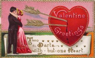 Valentine pozdrowienia karty circa s