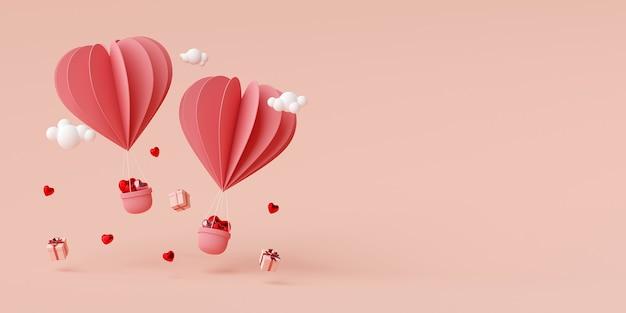 Valentine transparent tło balon w kształcie serca z pudełko renderowania 3d