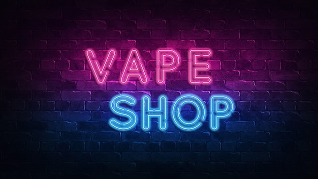 Vape shop neon sign. fioletowy i niebieski blask.