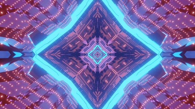 Vibrant 3d illustration streszczenie futurystyczny projekt tła wizualnego ze świecącym ornamentem geometrycznym w neonowych kolorach z odbiciami światła
