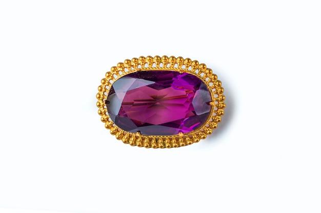 Vintage antyczna broszka fioletowy kamień