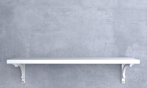 Vintage biała półka drewniana na ścianie.