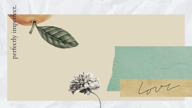 Vintage botaniczny kolaż ilustracja tło
