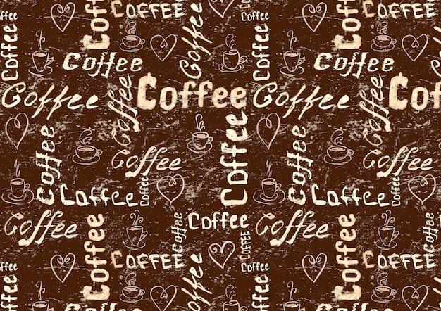 Vintage brązowa powierzchnia kawy z napisem, sercami i filiżankami kawy
