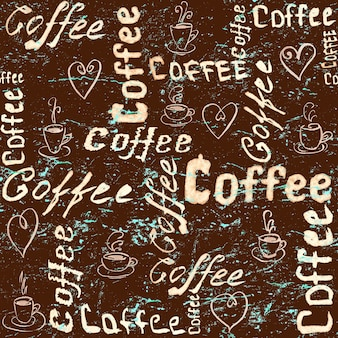 Vintage brązowy i turkusowy wzór kawy bez szwu z napisem, sercami i filiżankami kawy