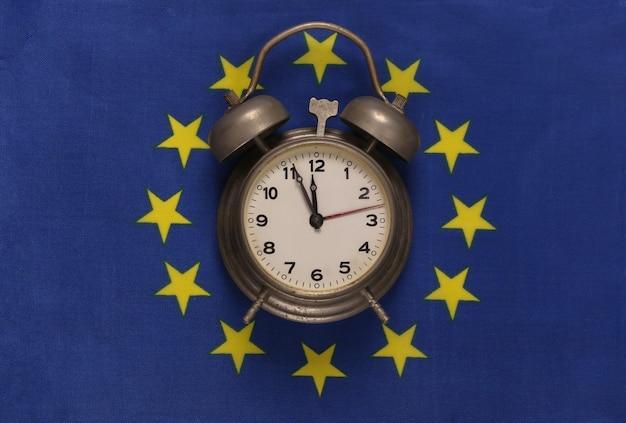 Vintage budzik na tle flagi unii euro