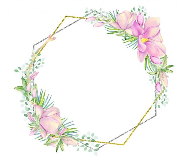 Vintage card, ramka ze złota i srebra w kształcie rombu. ozdobiony akwarelowymi kwiatami magnolii.
