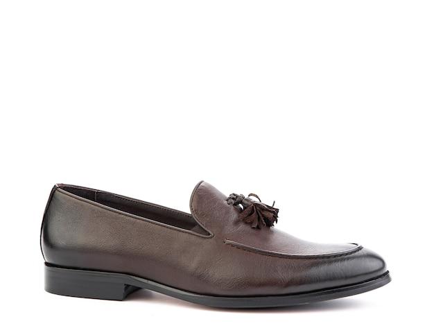 Vintage damskie mokasyny buty zbliżenie strzał reklamowy skórzane brązowe buty koncepcja zbliżenie buty