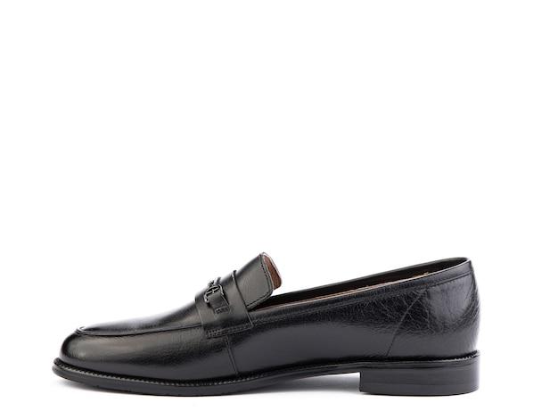 Vintage damskie mokasyny buty zbliżenie strzał reklamowy skórzane czarne buty koncepcja zbliżenie buty
