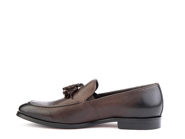 Vintage damskie mokasyny zbliżenie strzał reklamowy skórzane brązowe buty