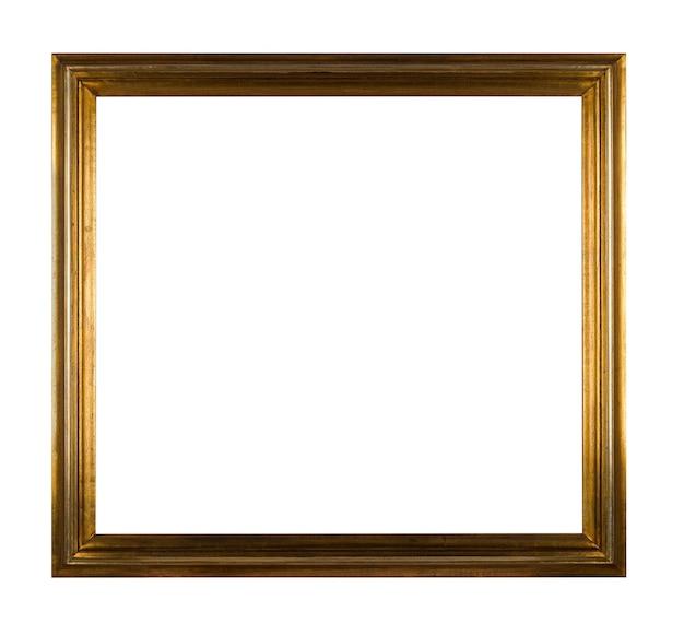 Vintage drewniana kwadratowa rama do malowania lub obrazu na białym tle
