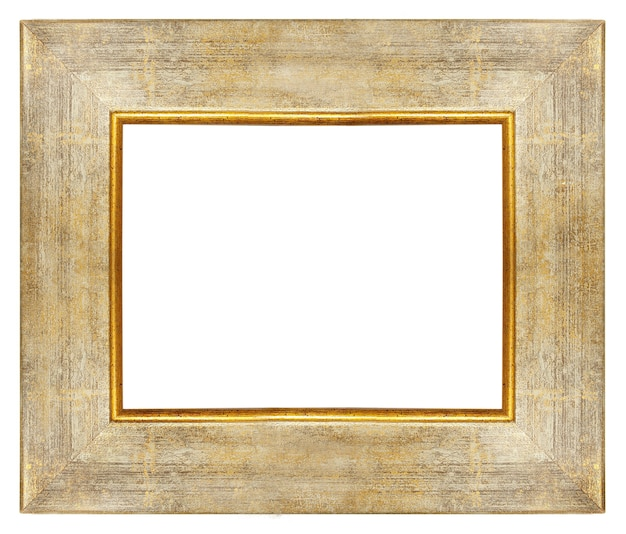 Vintage drewniana pusta rama ze złotymi granicami na białym tle