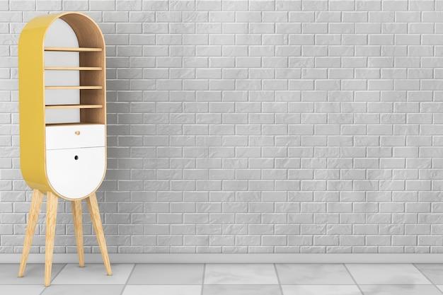 Vintage drewniana szafka kuchenna przed ceglaną ścianą. renderowanie 3d