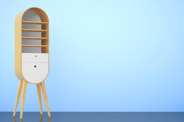 Vintage drewniane szafki kuchenne na niebieskim tle. renderowanie 3d