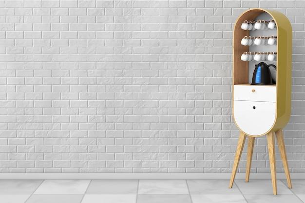 Vintage drewniane szafki kuchenne z czajnikiem i filiżankami przed ceglaną ścianą. renderowanie 3d