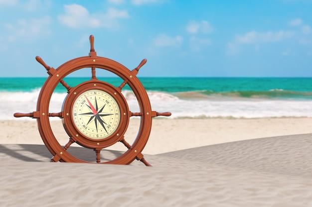 Vintage drewniany statek kierownica z rzadkim kompasem na ocean deserted coast ekstremalne zbliżenie. renderowanie 3d
