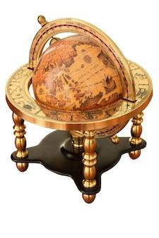 Vintage earth globe w antycznym stylu vintage białym tle