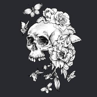 Vintage gotycka czaszka z motylami i kwiatami