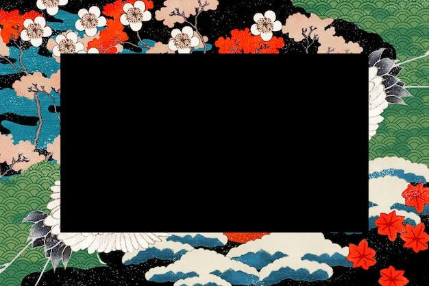Vintage japońska ilustracja ramki, zremiksowana z dzieł należących do domeny publicznej public