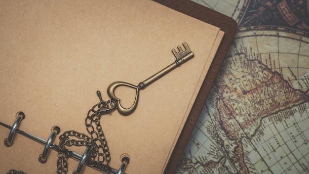Vintage key on diary book