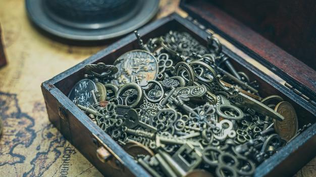 Vintage keys in treasure box