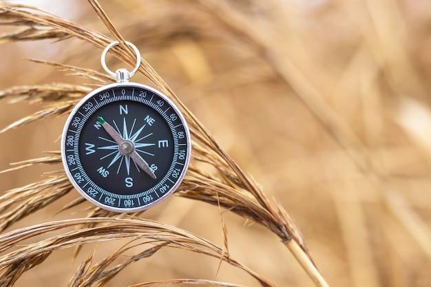Vintage kompas wiszący na suchej trzcinie. sprzęt wędrowny. motyw przygodowy i odkrywczy. nawigacja w podróży. znajdź drogę i miejsce docelowe