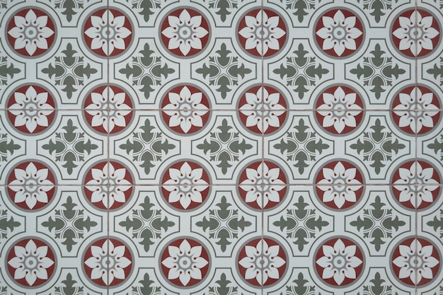 Vintage kwiatowy wzór płytki podłogowe.