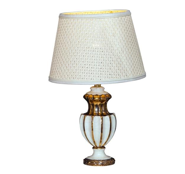 Vintage lampa stołowa na białym tle