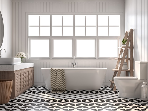 Vintage łazienka 3d render z białymi ścianami z desek czarno-biały wzór podłogi
