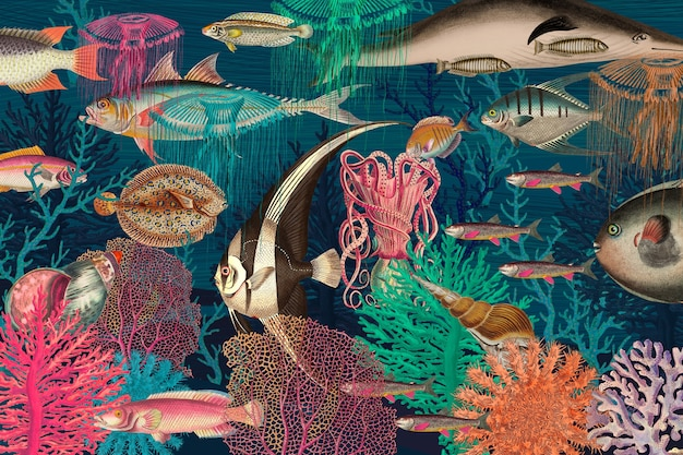 Vintage podwodny wzór tła ilustracji, zremiksowany z dzieł z domeny publicznej