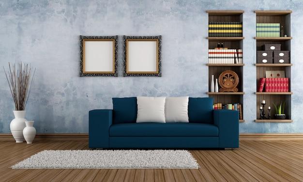Vintage pokój z nowoczesną kanapą