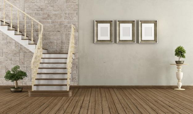Vintage pokój z rocznika schody