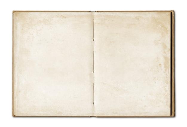 Vintage pusty otwarty notatnik na białym tle