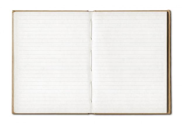 Vintage pusty otwarty notatnik