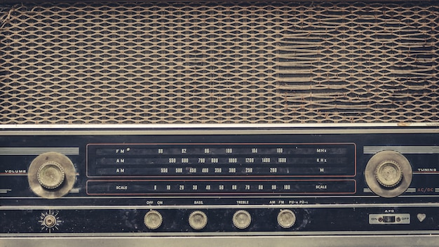 Vintage radio music player panel