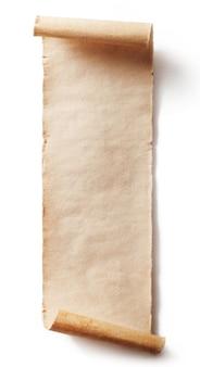 Vintage rolka pergaminu tło na białym tle