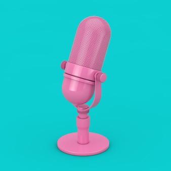 Vintage różowy mikrofon makieta w stylu bichromii na niebieskim tle. renderowanie 3d