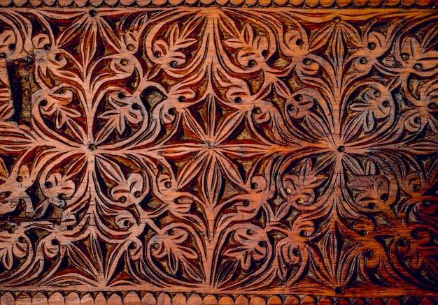 Vintage rzeźbione w drewnie ornament zbliżenie