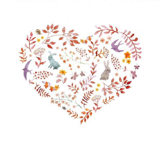 Vintage serce - jesienne liście, króliki, ptaki. akwarela