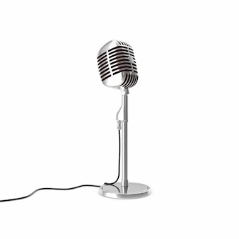 Vintage srebrny mikrofon na podłodze izolowane.
