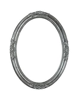 Vintage stare drewniane klasyczne srebrno-szare okrągłe owalne ramki na zdjęcie lub zdjęcie, na białym tle na białym tle, z bliska