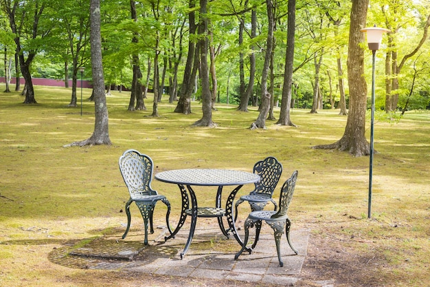 Vintage stół i krzesła w ogrodzie. spokojna relaksująca spokojna sceneria