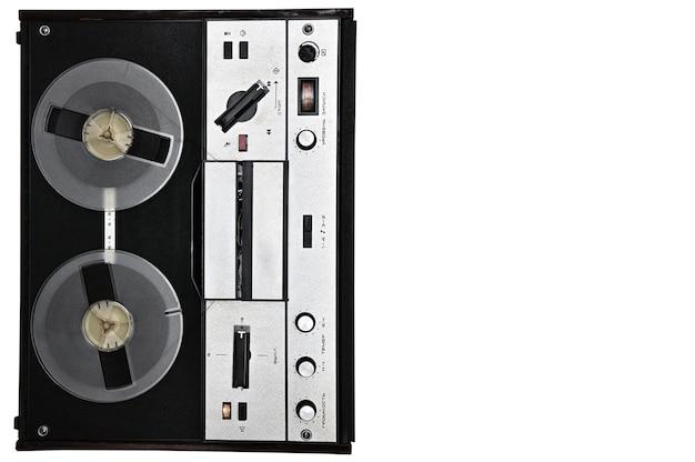 Vintage szpula do szpuli magnetofon na na białym tle białej powierzchni