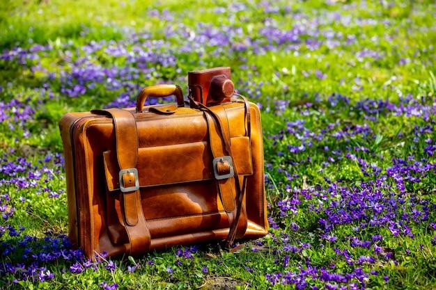 Vintage walizka i aparat na łące z fioletowymi kwiatami w okresie wiosennym