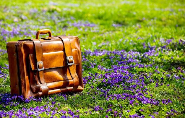Vintage walizka na łące z fioletowymi kwiatami w okresie wiosennym