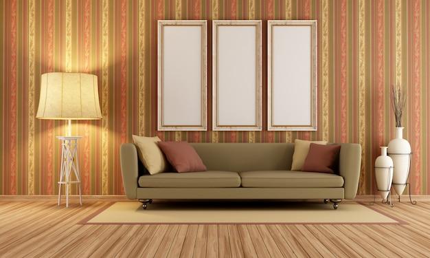 Vintage wnętrze z elegancką sofą